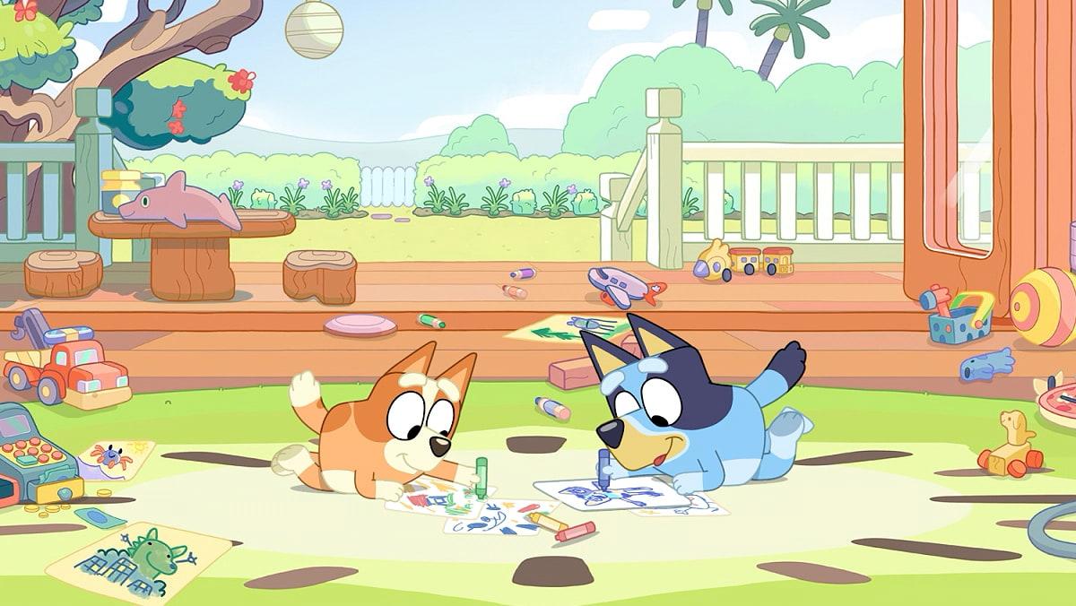 Bluey and Bingo from the kids TV show Bluey